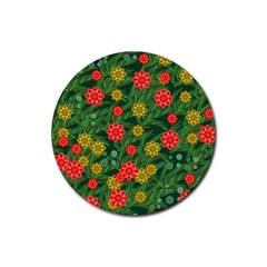 Completely Seamless Tile With Flower Rubber Coaster (round)