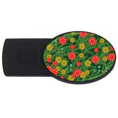 Completely Seamless Tile With Flower USB Flash Drive Oval (1 GB)