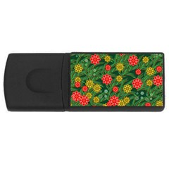 Completely Seamless Tile With Flower USB Flash Drive Rectangular (1 GB)