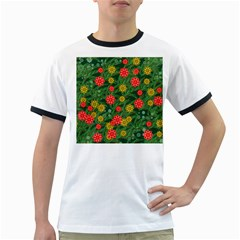 Completely Seamless Tile With Flower Ringer T Shirts