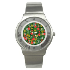 Completely Seamless Tile With Flower Stainless Steel Watch