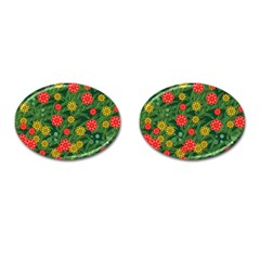 Completely Seamless Tile With Flower Cufflinks (oval)
