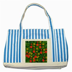 Completely Seamless Tile With Flower Striped Blue Tote Bag