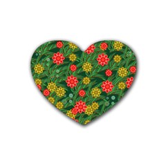 Completely Seamless Tile With Flower Heart Coaster (4 Pack)