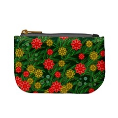 Completely Seamless Tile With Flower Mini Coin Purses
