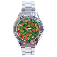 Completely Seamless Tile With Flower Stainless Steel Analogue Watch