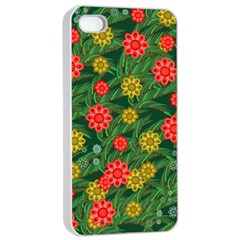 Completely Seamless Tile With Flower Apple iPhone 4/4s Seamless Case (White)
