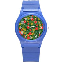 Completely Seamless Tile With Flower Round Plastic Sport Watch (s)