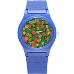 Completely Seamless Tile With Flower Round Plastic Sport Watch (S) Front