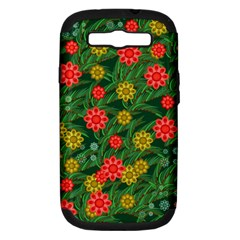 Completely Seamless Tile With Flower Samsung Galaxy S III Hardshell Case (PC+Silicone)