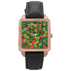 Completely Seamless Tile With Flower Rose Gold Leather Watch