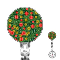 Completely Seamless Tile With Flower Stainless Steel Nurses Watch