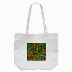 Completely Seamless Tile With Flower Tote Bag (White)