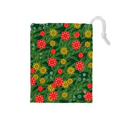 Completely Seamless Tile With Flower Drawstring Pouches (Medium)
