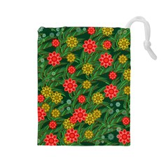 Completely Seamless Tile With Flower Drawstring Pouches (Large)