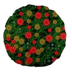 Completely Seamless Tile With Flower Large 18  Premium Flano Round Cushions