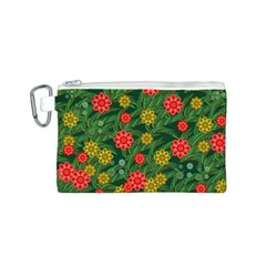 Completely Seamless Tile With Flower Canvas Cosmetic Bag (S)