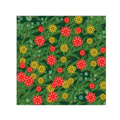 Completely Seamless Tile With Flower Small Satin Scarf (Square)