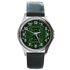An Overly Large Geometric Representation Of A Circuit Board Round Metal Watch