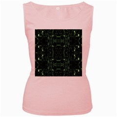 An Overly Large Geometric Representation Of A Circuit Board Women s Pink Tank Top