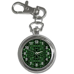 An Overly Large Geometric Representation Of A Circuit Board Key Chain Watches