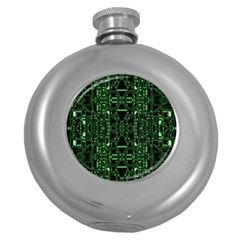 An Overly Large Geometric Representation Of A Circuit Board Round Hip Flask (5 oz)