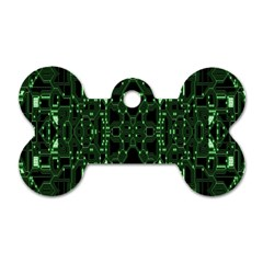 An Overly Large Geometric Representation Of A Circuit Board Dog Tag Bone (two Sides)