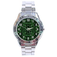 An Overly Large Geometric Representation Of A Circuit Board Stainless Steel Analogue Watch