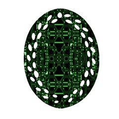 An Overly Large Geometric Representation Of A Circuit Board Oval Filigree Ornament (Two Sides)
