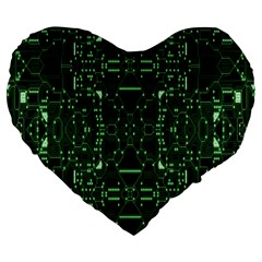 An Overly Large Geometric Representation Of A Circuit Board Large 19  Premium Heart Shape Cushions
