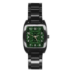 An Overly Large Geometric Representation Of A Circuit Board Stainless Steel Barrel Watch