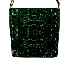 An Overly Large Geometric Representation Of A Circuit Board Flap Messenger Bag (L)
