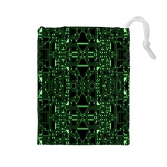 An Overly Large Geometric Representation Of A Circuit Board Drawstring Pouches (Large)