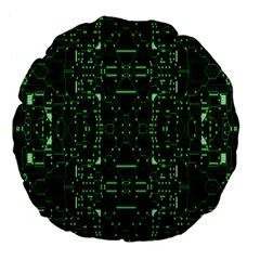 An Overly Large Geometric Representation Of A Circuit Board Large 18  Premium Flano Round Cushions