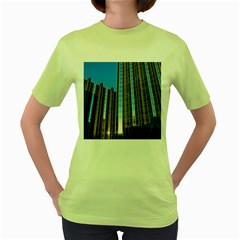 Two Abstract Architectural Patterns Women s Green T-Shirt