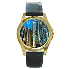 Two Abstract Architectural Patterns Round Gold Metal Watch
