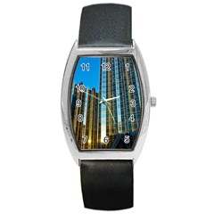 Two Abstract Architectural Patterns Barrel Style Metal Watch