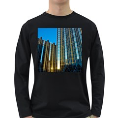Two Abstract Architectural Patterns Long Sleeve Dark T-Shirts
