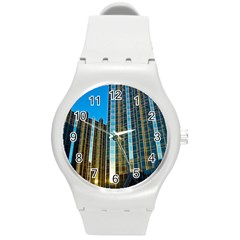 Two Abstract Architectural Patterns Round Plastic Sport Watch (M)