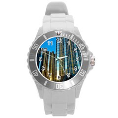 Two Abstract Architectural Patterns Round Plastic Sport Watch (L)