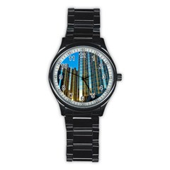 Two Abstract Architectural Patterns Stainless Steel Round Watch