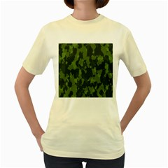 Camouflage Green Army Texture Women s Yellow T-Shirt