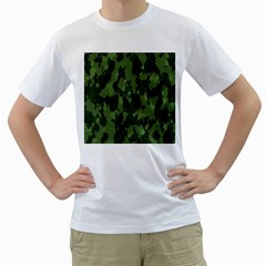Camouflage Green Army Texture Men s T Shirt (white) (two Sided)