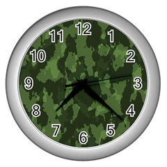 Camouflage Green Army Texture Wall Clocks (silver)