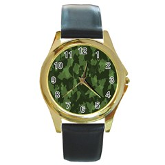 Camouflage Green Army Texture Round Gold Metal Watch