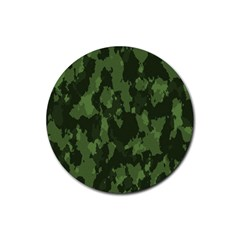 Camouflage Green Army Texture Rubber Coaster (round)