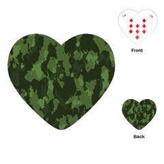 Camouflage Green Army Texture Playing Cards (Heart)
