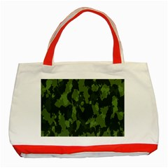 Camouflage Green Army Texture Classic Tote Bag (Red)