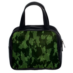 Camouflage Green Army Texture Classic Handbags (2 Sides)