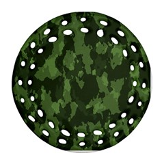 Camouflage Green Army Texture Round Filigree Ornament (Two Sides)